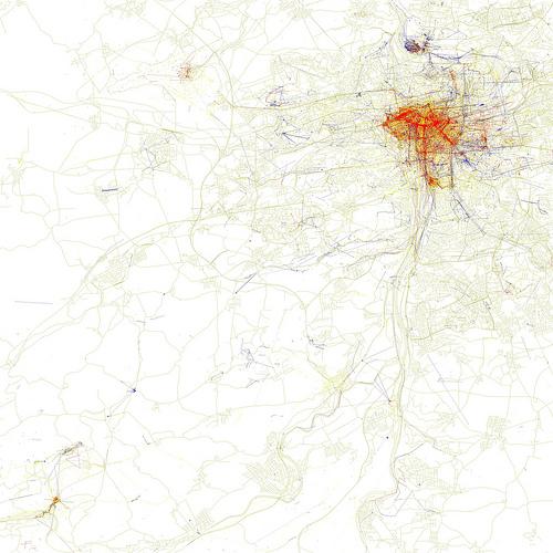 Takto vypadá mapa Prahy. Kliknutím přejdete na detail mapy na Flickru, kde si můžete zobrazit mapu v plném rozlišení.