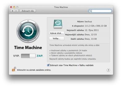 Time Machine zálohování nastavení