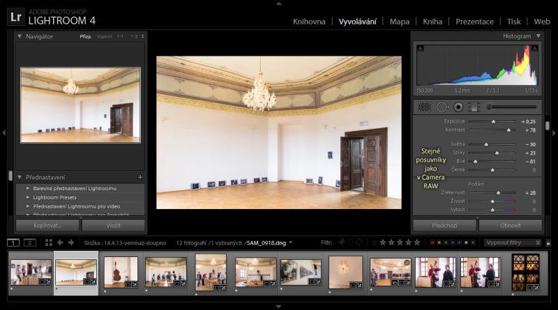 Lightroom má stejné možnosti úprav jako CameraRAW