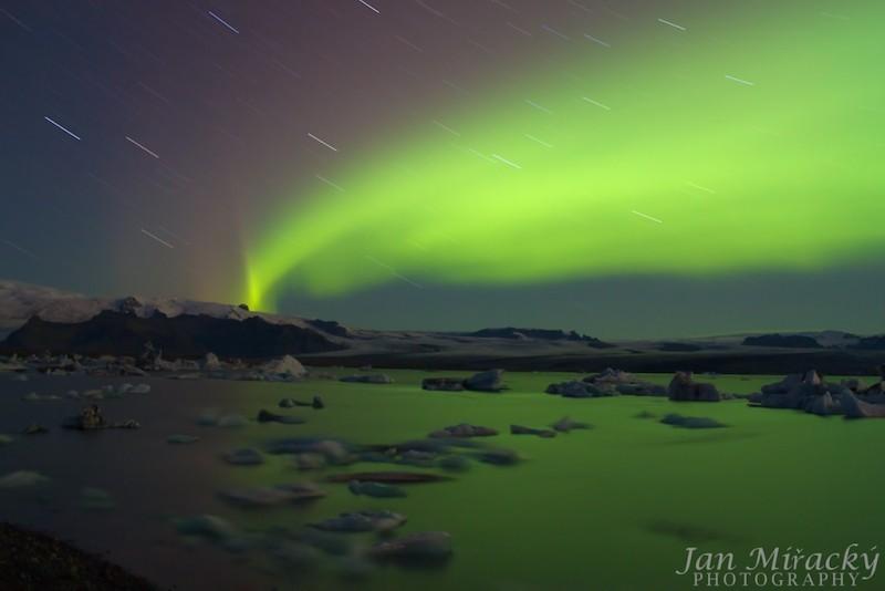 Aurora borealis above Jokulsarlon glacier lagoon
